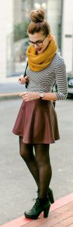 mustard knitted scarf - skater skirt